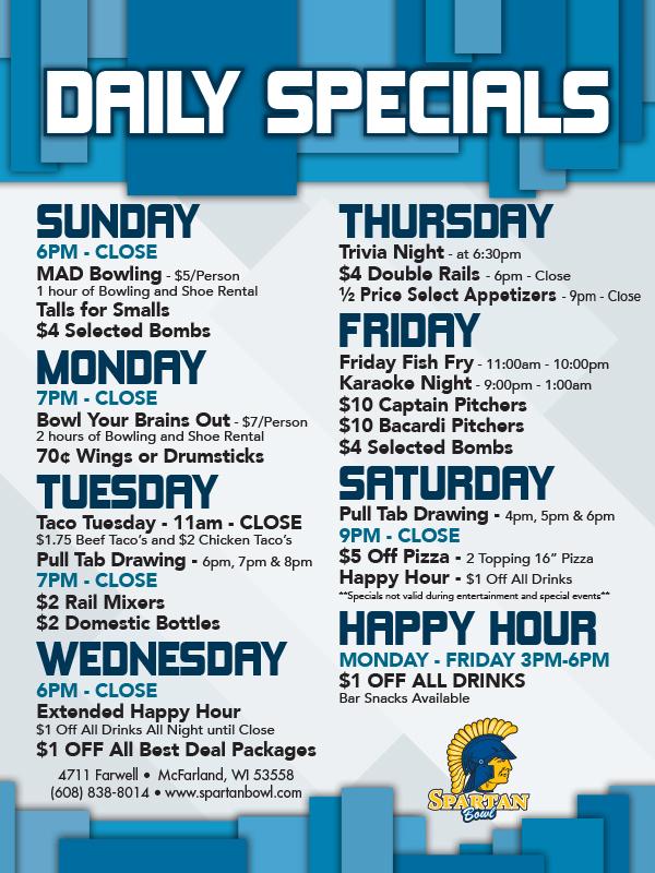 Nightly Bowling Specials - Spartan Bowl - McFarland, WI